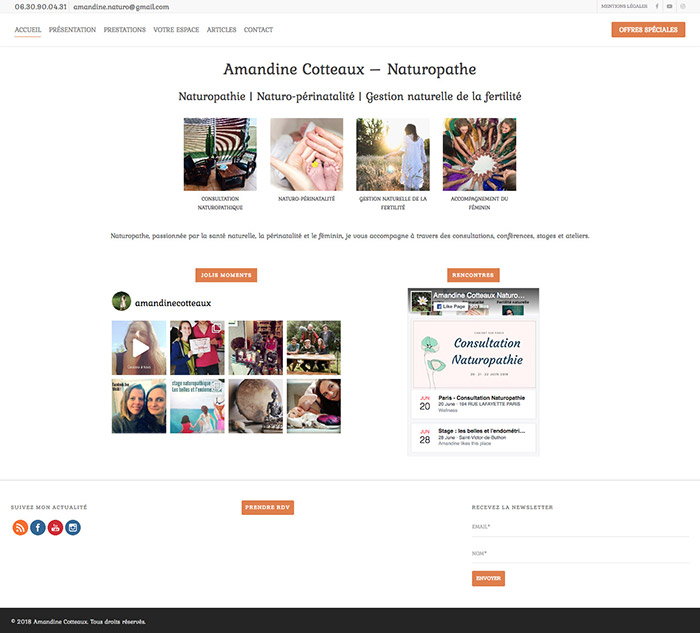 Photography of amandinecotteaux.fr homepage