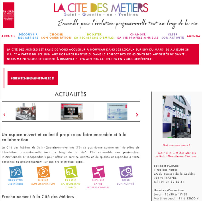 Photography of citedesmetiers-sqy.fr homepage